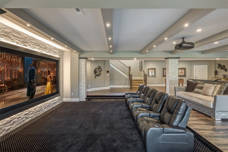 large in home theater with larg screen and fluffy lounger chairs